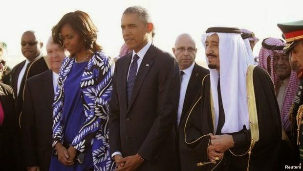 Raja Arab Saudi Salman bin Abdul Aziz Al Saud meninggalkan obama untuk solat