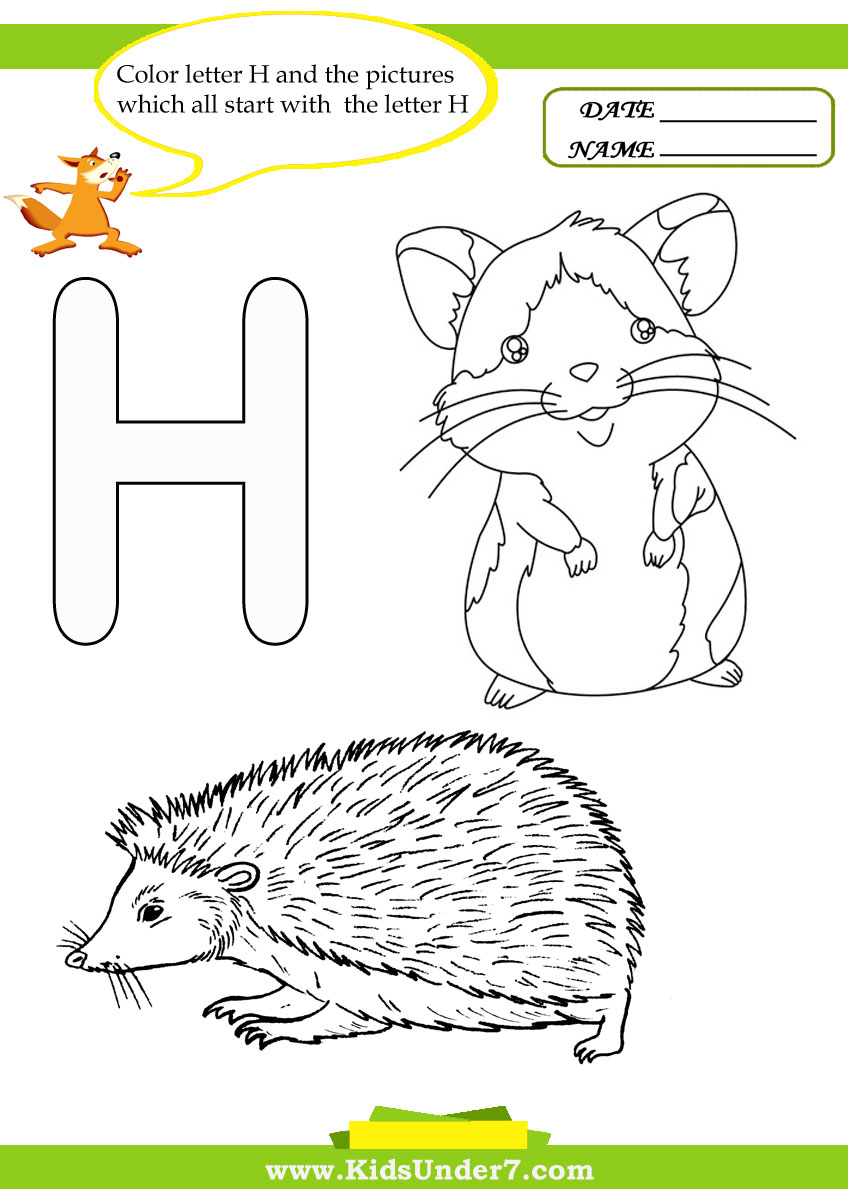 Kids Under 7 Letter H Worksheets and Coloring Pages – Letter H Worksheets Kindergarten