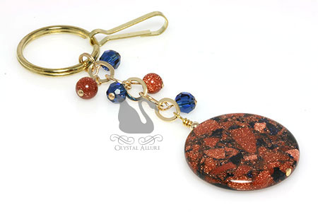 Goldstone Sapphire Crystal Gold Keychain Purse Charm (K107)