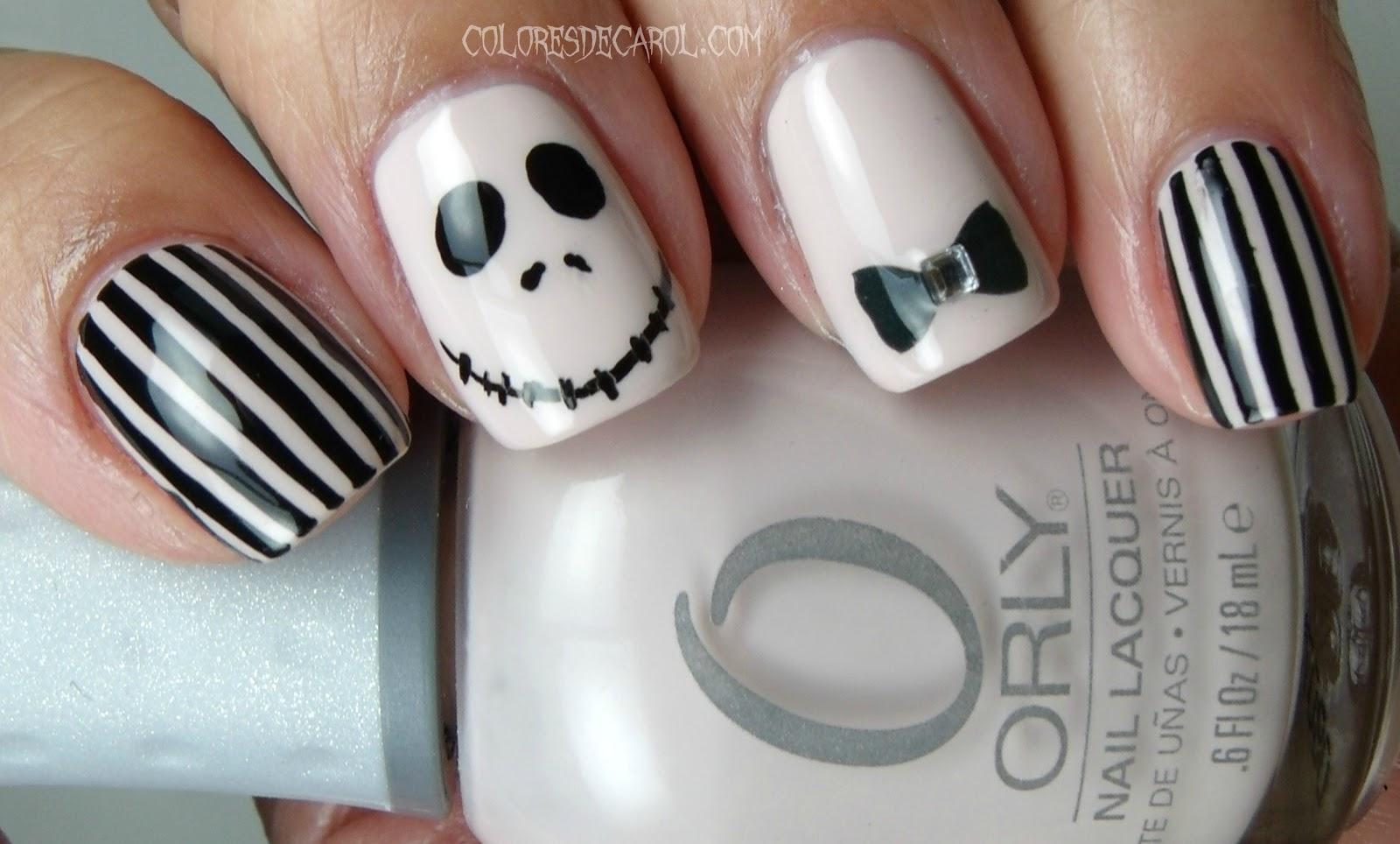 Colores de Carol: Jack Skellington - Halloween Manicure