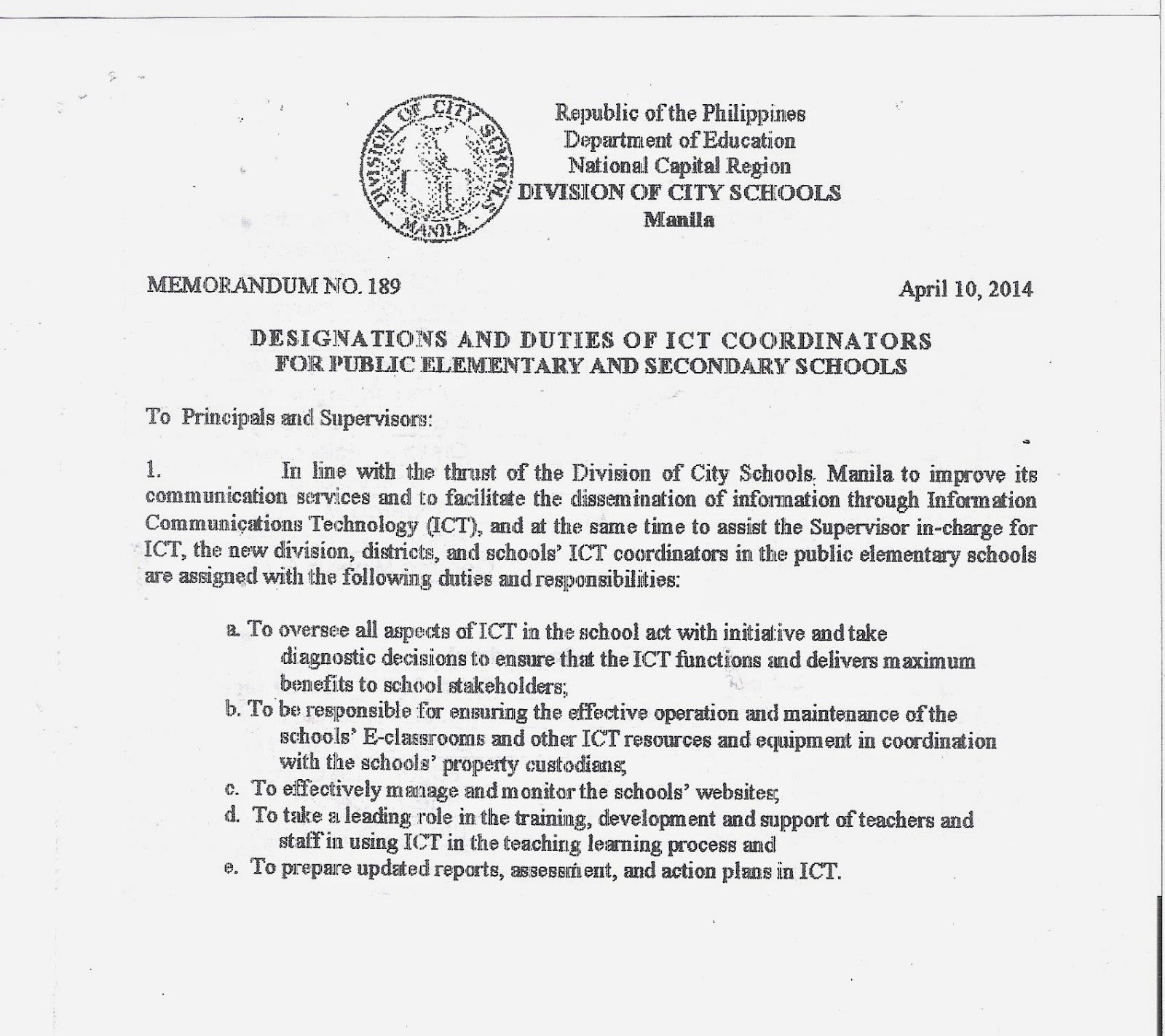 Department Of Education Manila Division Memorandum No 189
