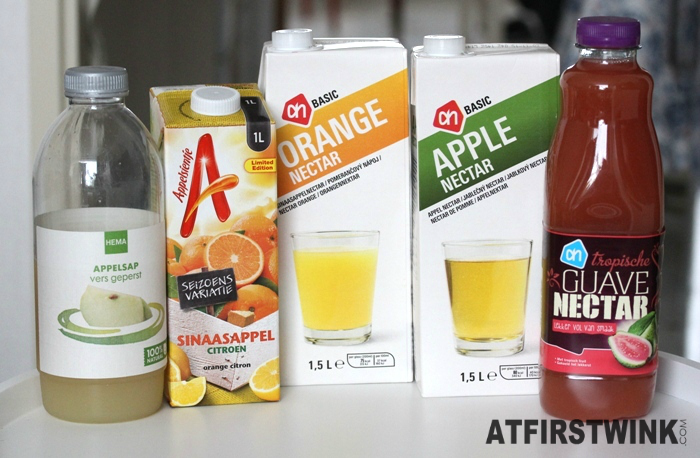 Albert Heijn basic sinaasappel nectar en appel nectar, Appelsientje sinaasappel citroen, Albert Heijn tropische guave nectar, en HEMA appelsap