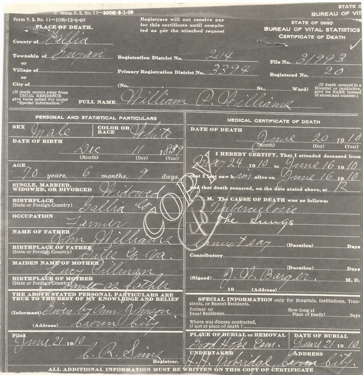 Mcdl genealogy october 2015 notice his mothers name is given as lucy pillman the information is given by ann johnson williams sister source ohio department of health aiddatafo Image collections