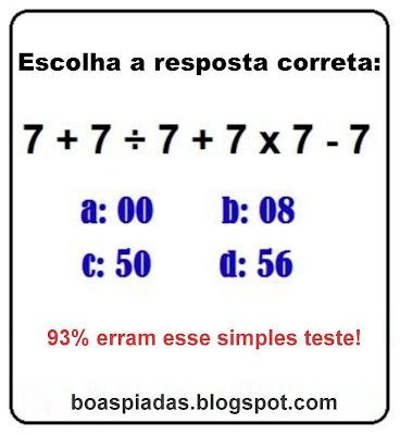 Teste aritmético simples.
