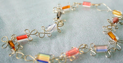 Summer morning (lampwork glass, sterling silver; wire wrapping & jig; necklace; 100% handcrafted) :: All Pretty Things