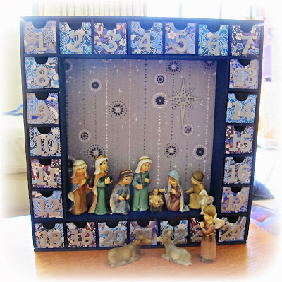 image advent calendar nativity jesus christas shepherds wise men mary joseph kaisercraft navy blue silver black