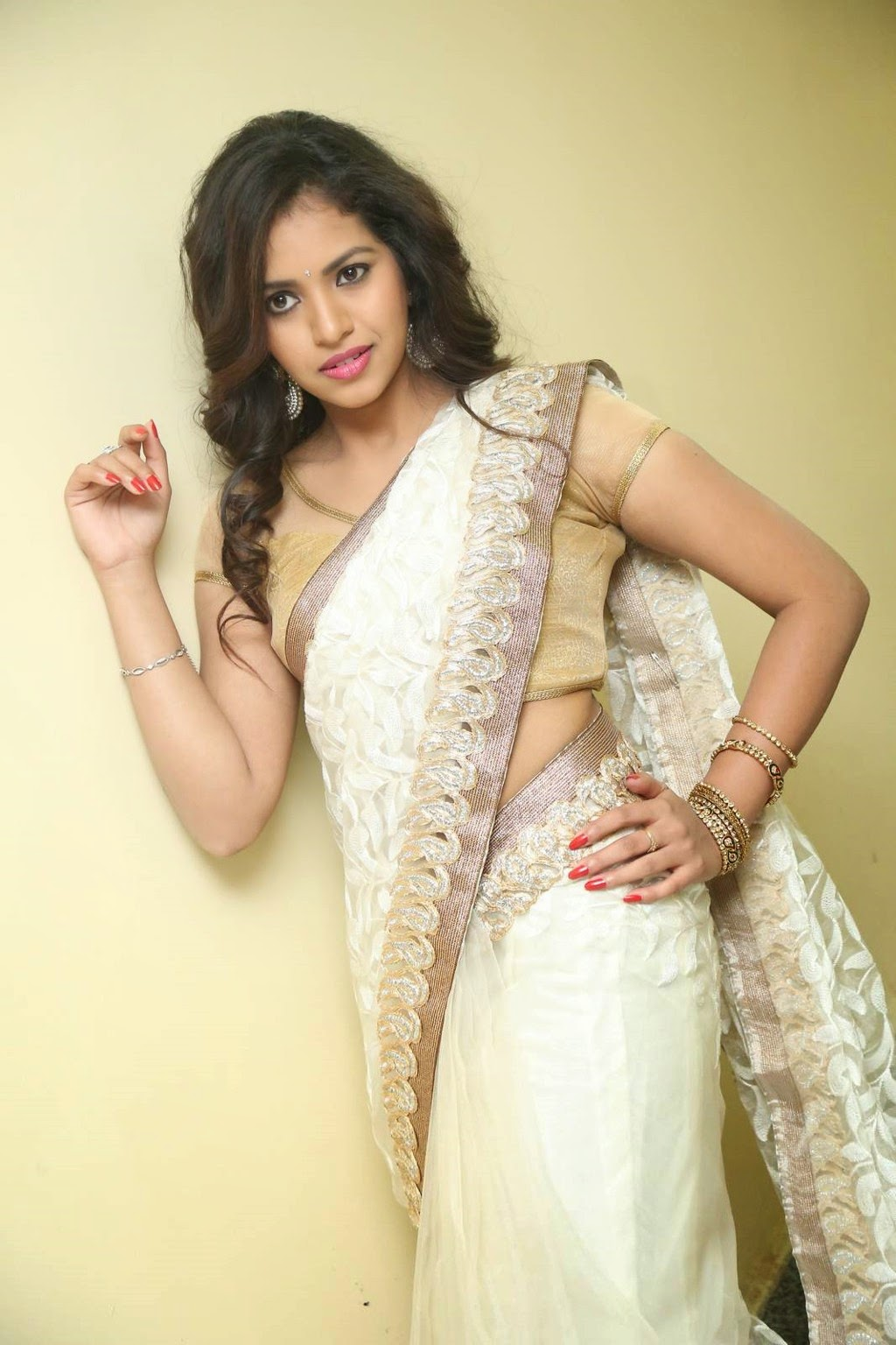 gowthami chowdary glamorous in saree-HQ-Photo-1