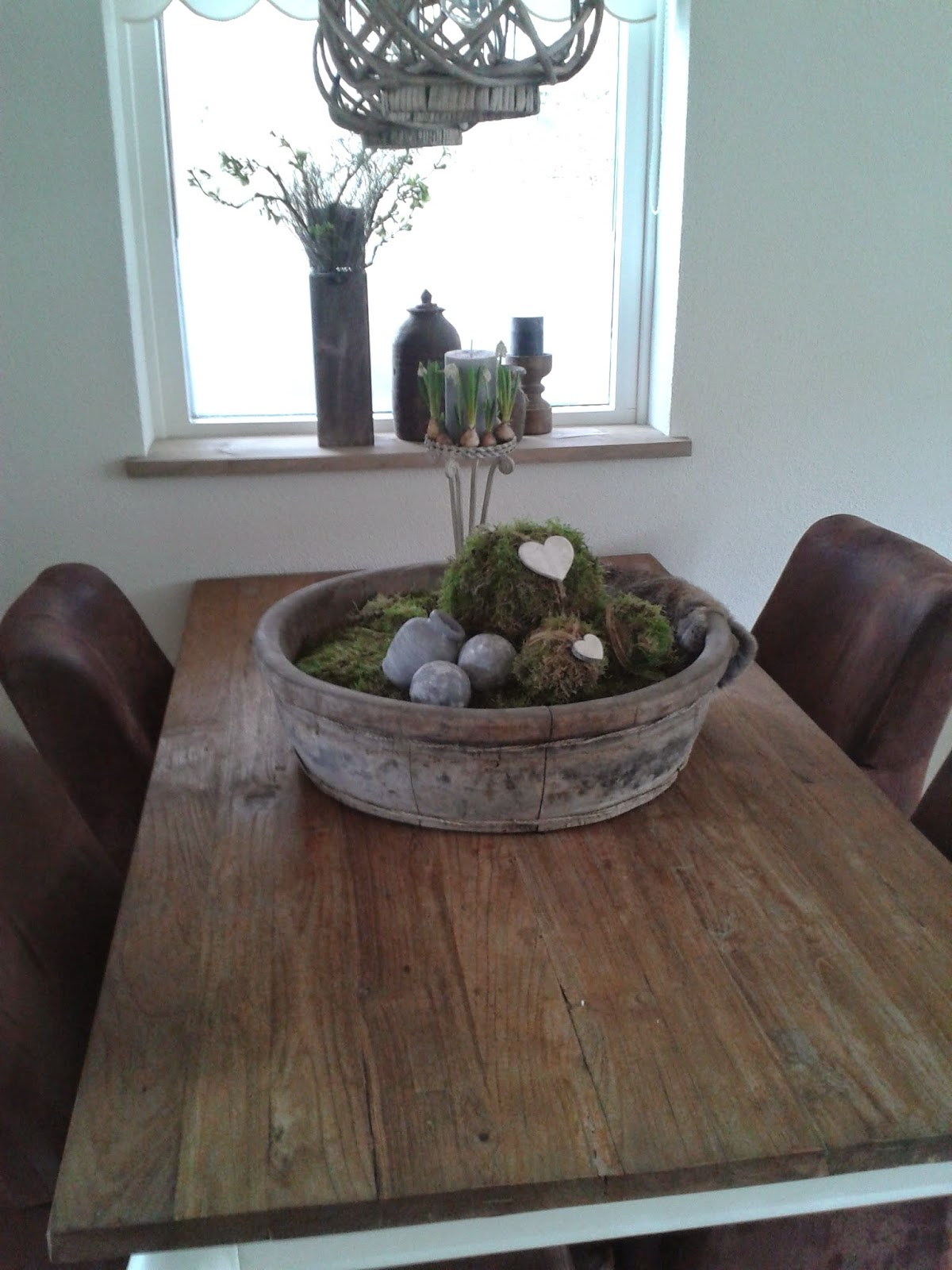 Wonen in je eigen stijl ronde houten bak - Tafel een kribbe stijl industriel ...