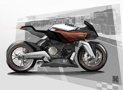 Motorcycle / Motorbike / Bike Sketche Skizze Entwurf cafe racer