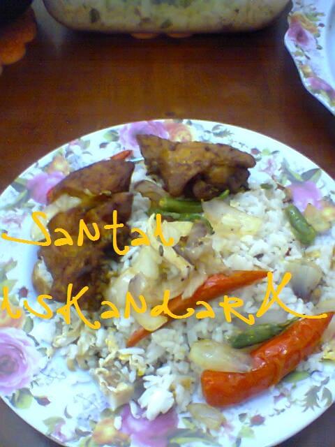 santai, Santai iskandarX, makanan tengahari pilihan iskandarX, nasi goreng, Ayam Goreng Pedas, Ayam Goreng Cabai
