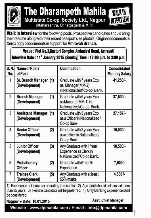 Jobs at Dhrampeth Mahila Bank,Amaravati,jan-2015