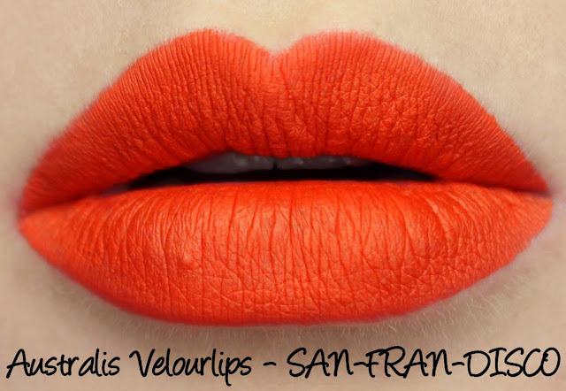 Australis Velourlips Matte Lip Cream - SAN-FRAN-DISCO Swatches & Review + GIVEAWAY!