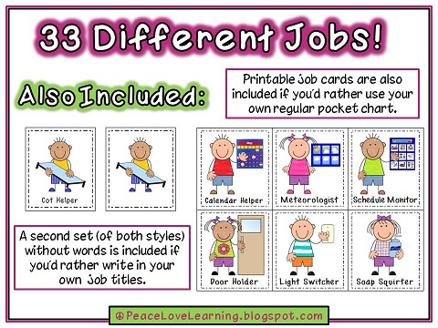 This is a picture of Gorgeous Free Printable Preschool Job Chart Pictures