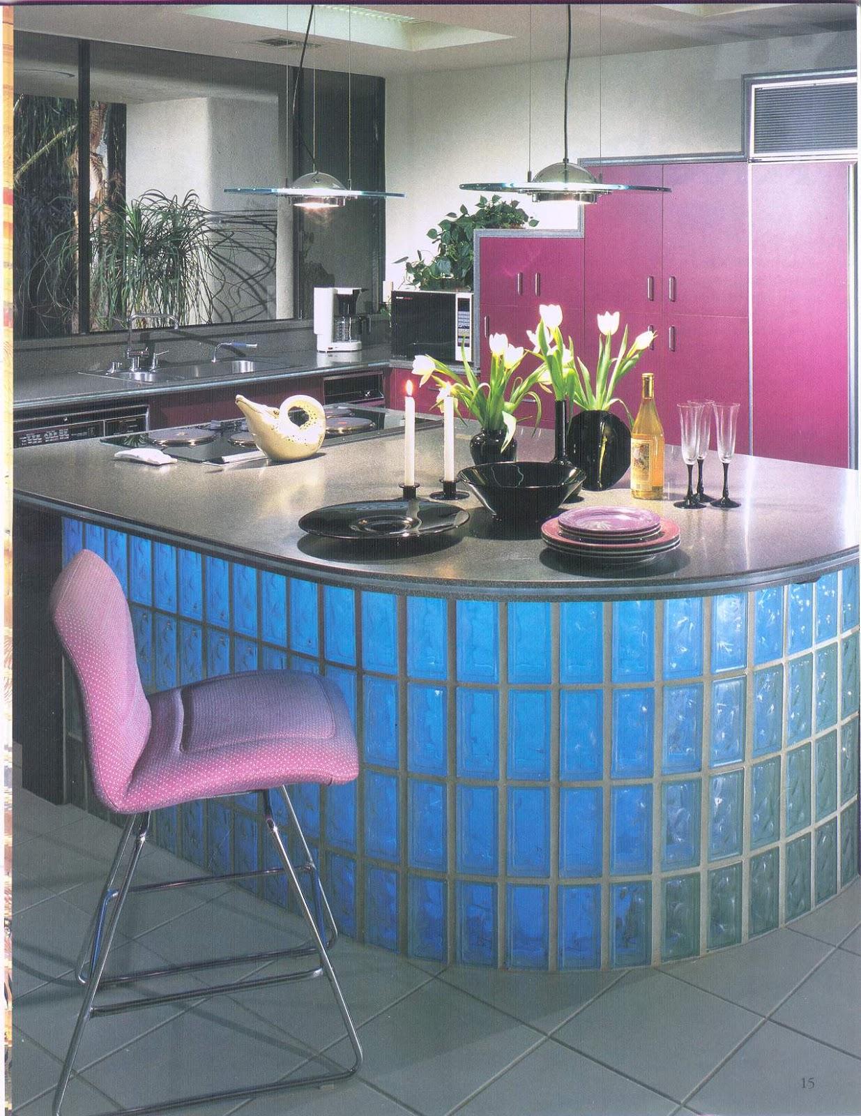 bloco de vidro pode compor a base de uma ilha de refeições e ainda  #296AA2 1235 1600