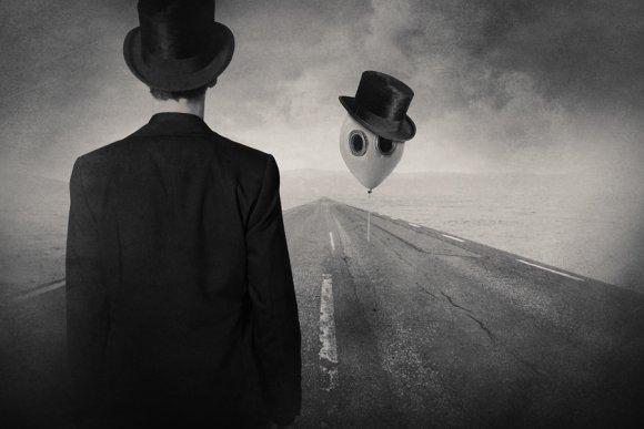 tommy ingberg foto manipulação photoshop surreal terno chapéu fotografia preto branco