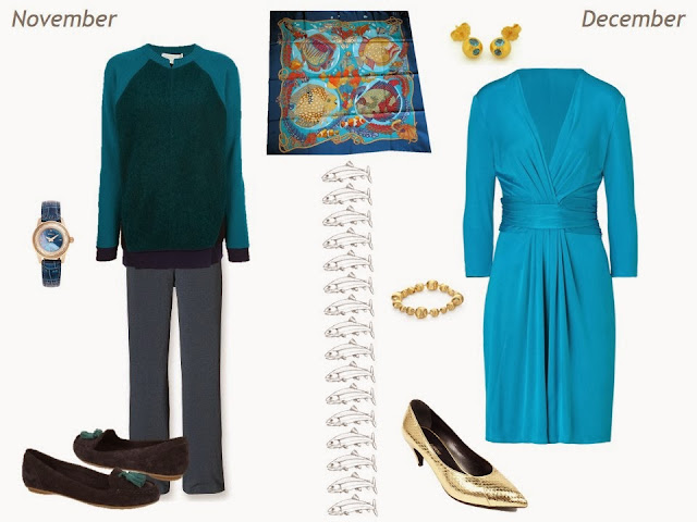 navy and turquoise outfits for November and December, based on Hermes Grands Fonds silk scarf