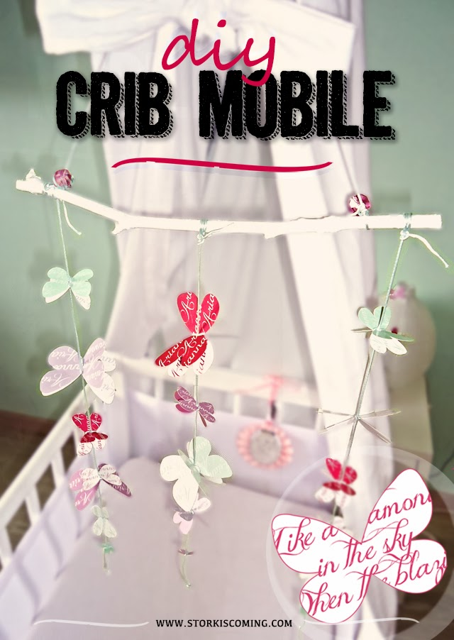 diy cradle mobile with butterflies