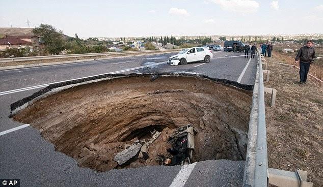 massive sinkhole Crimean highway