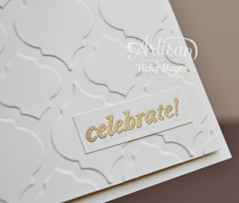 Emboss your greeting in gold with UK Stampin Up demonstrator Vicky Hayes