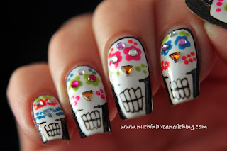 Mexican Sugar Skull nail art