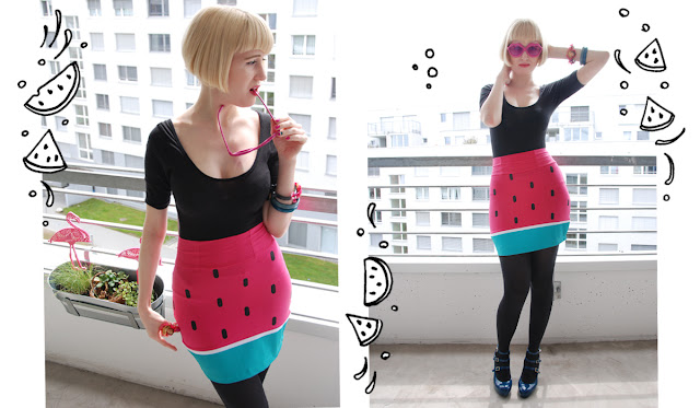 Lazy Oaf, watermelon skirt, melon skirt, fruits in fashion