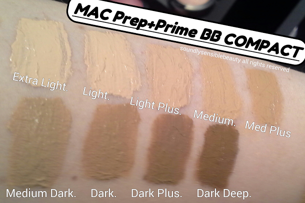 Mac Prep + Prime BB Beauty Balm Compact; SPF 30: Review & Swatches of Shades; Extra Light, Light, Light + Plus, Medium, Medium + Plus. Medium Dark, Dark, Dark + Plus, Dark Deep.