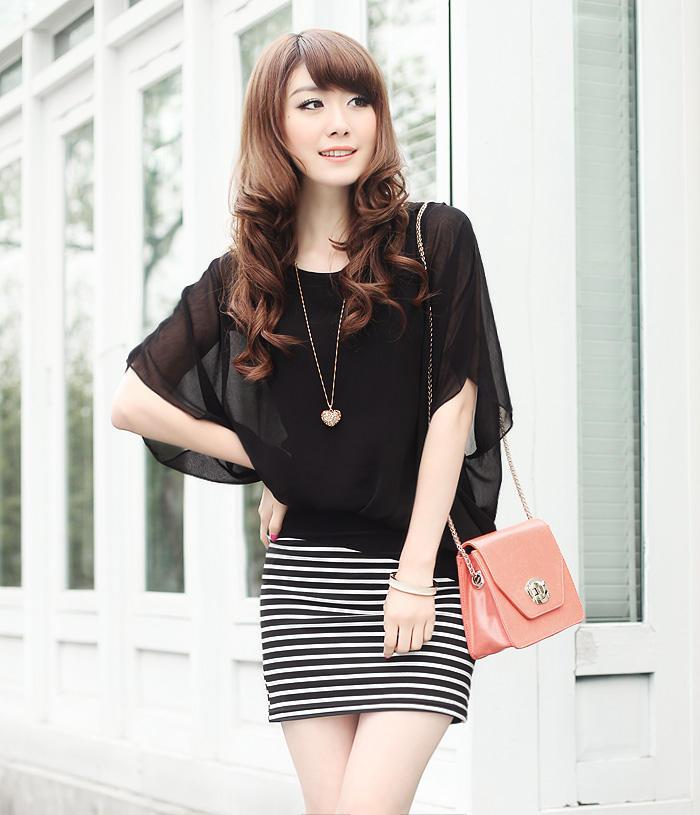 Baju: Dress Garis Hitam Putih Lapis Hitam