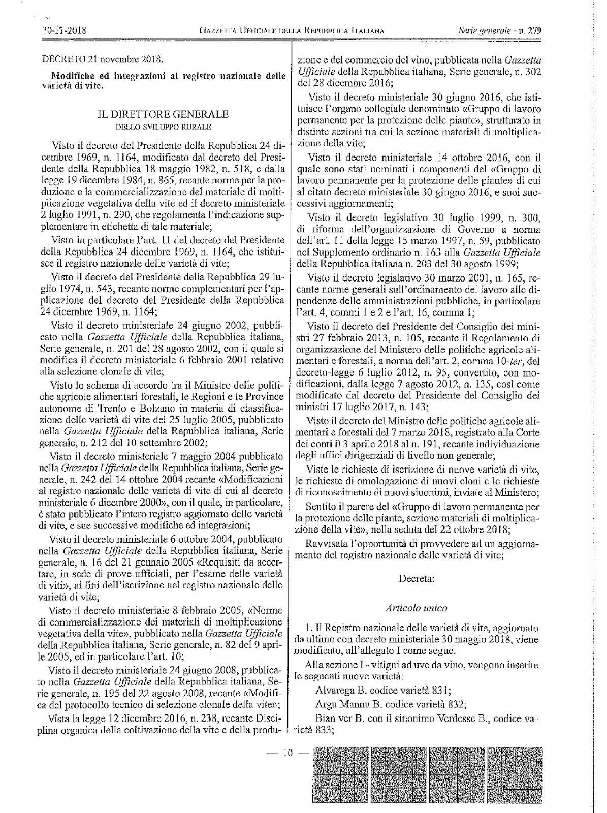L'ALVAREGA DI OZIERI ISCRITTO NEL REGISTRO NAZIONALE DEI VITIGNI. UNA ATTESA DI 15 ANNI !