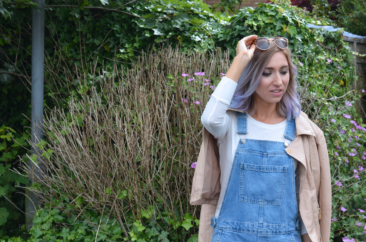 Pink Leather Jacket and Topshop Dungarees