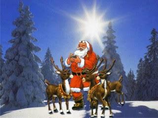 Božićne slike Djed Mraz sobovi snijeg