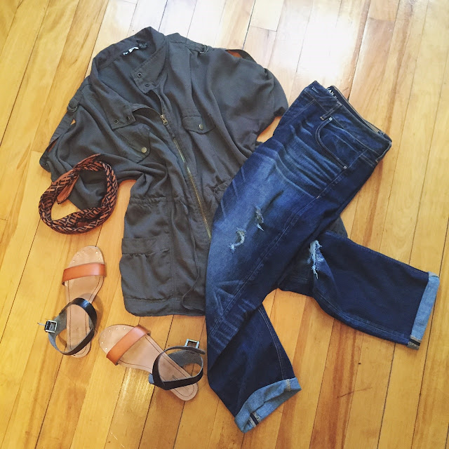 army green top, distressed boyfriend jeans, sandals, personal style
