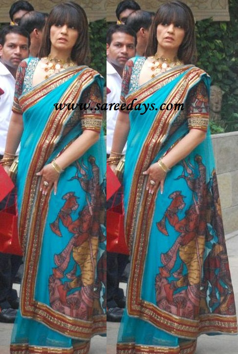 latest saree designs neeta lulla in designer blue saree
