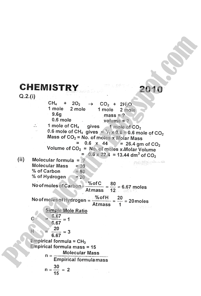 Chemistry-Numericals-Solve-2010-five-year-paper-class-XI