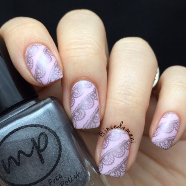 bp44 pink and grey lace nails
