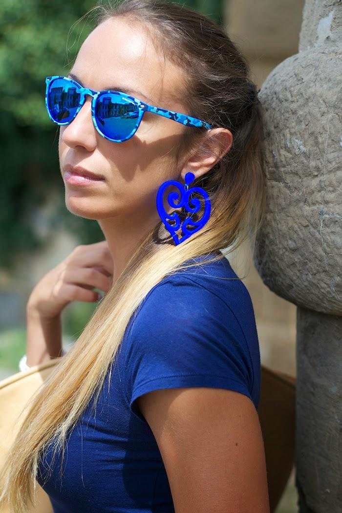 maxi orecchini blu