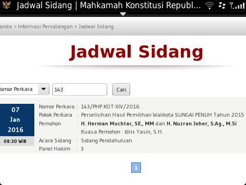 Breaking News,,,,,Kamis, Sengketa Pilwako Sungai Penuh Mulai disidangkan di MK