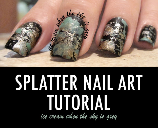 Splatter Nail Art Tutorial (Matte) With Black, Silver, Gold and Pastel Green