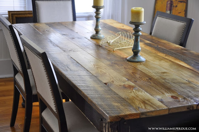 William K Perdue Reclaimed Wood Farm Table Hand Turned