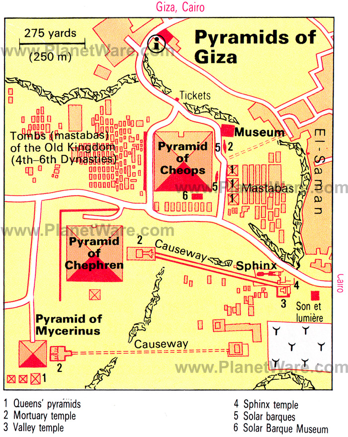 Ancient Egypt Pyramid Of Giza Map - Map of egypt detailed