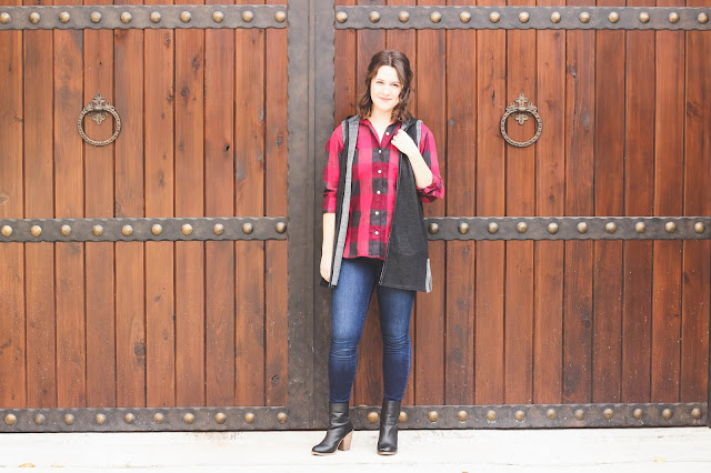 Cozy vest & buffalo plaid, favorite fall look, black booties, plaid button down from Gap, vest from TJMaxx