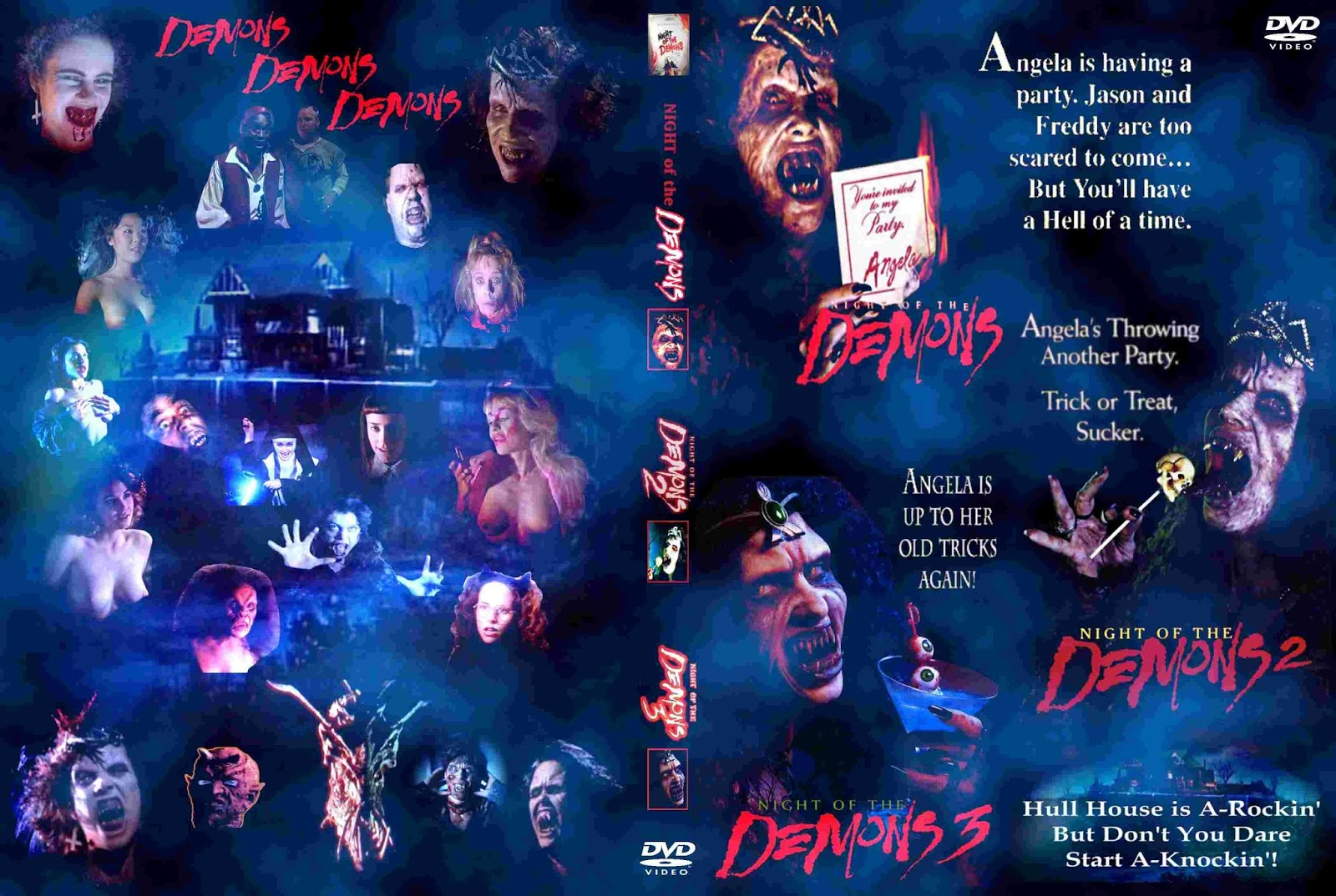 NIGHT OF THE DEMONS (1988 1997) Trilogy VHS And DVD Covers