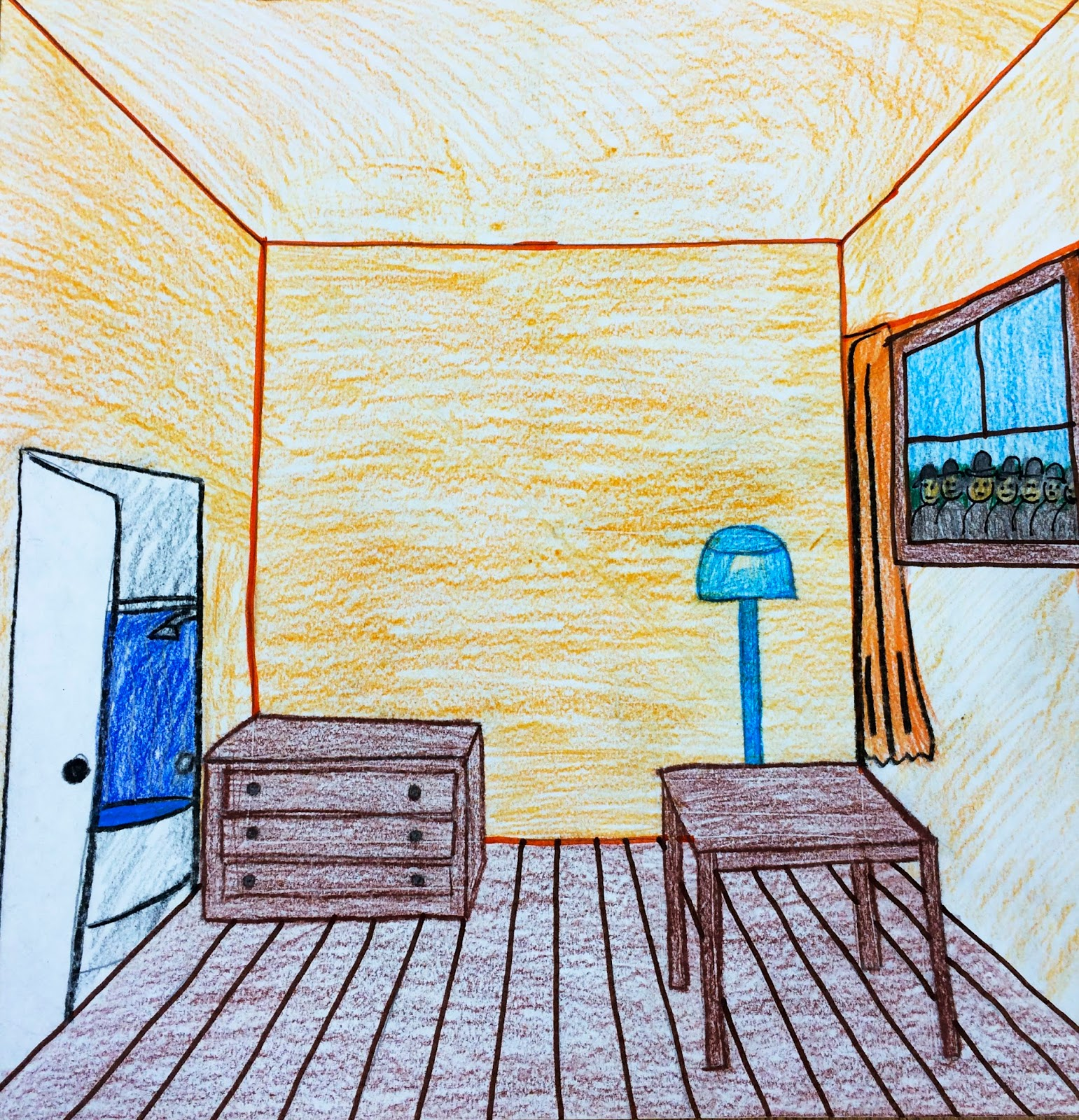 The helpful art teacher draw a surrealistic room in one for Drawing room