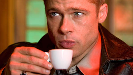 Brad Pitt Having Coffee