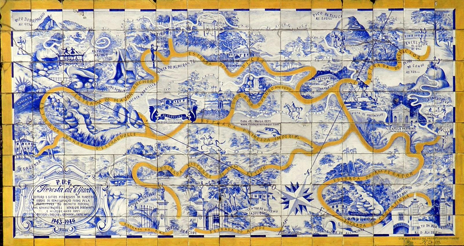 Porcelana brasil mapa da floresta da tijuca em painel de for Azulejos europa 9 telefono