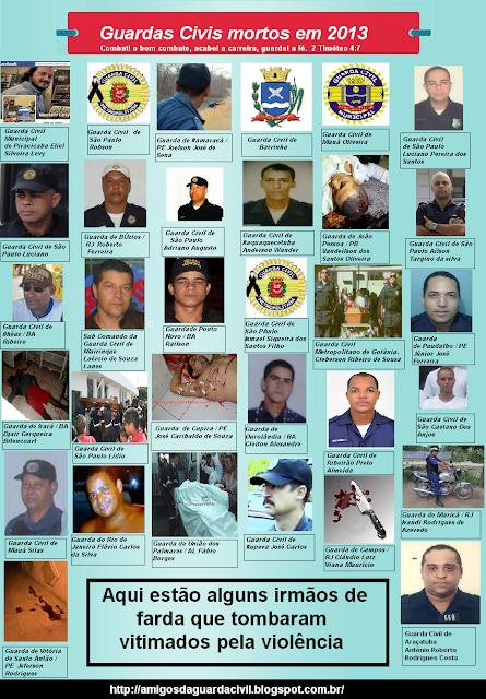 Lembre-se dos Guardas Civis que tombaram em 2013 vítimas da violência que consome nosso país !