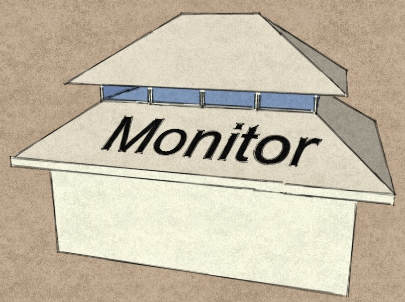Monitor: A Monitor Roof Has A Portion Of A Roof, Which Is Raised Up Above  The Main Roof Usually With Continuous Vertical Glazing Around The Perimeter  For ...