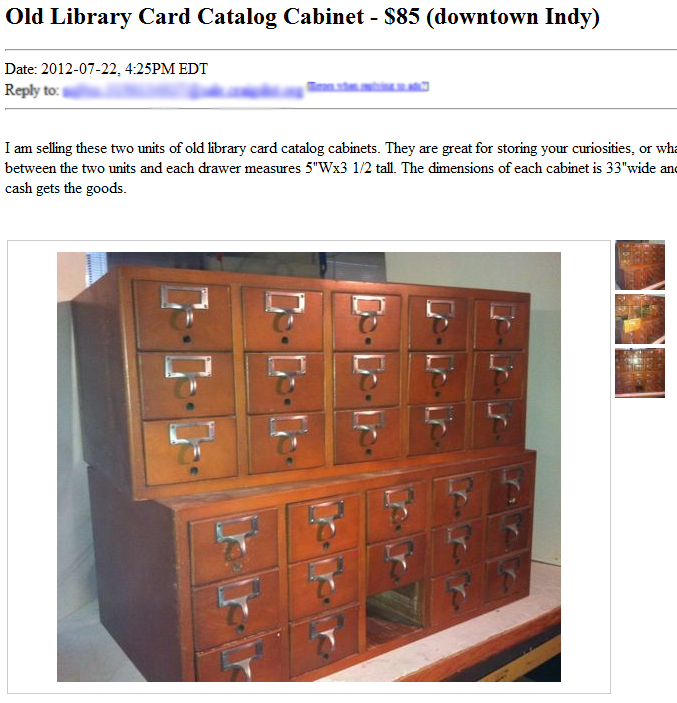 Library Card Catalog Two Twenty One