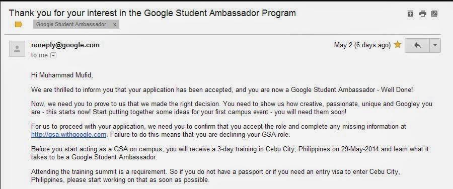 Google Student Ambassador South East Asia 2014 | Telkom University | Muhammad Mufid Luthfi