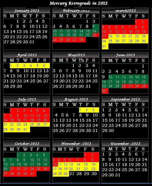 Printable 2016 Mercury Retrograde Calendar | Calendar Template 2016