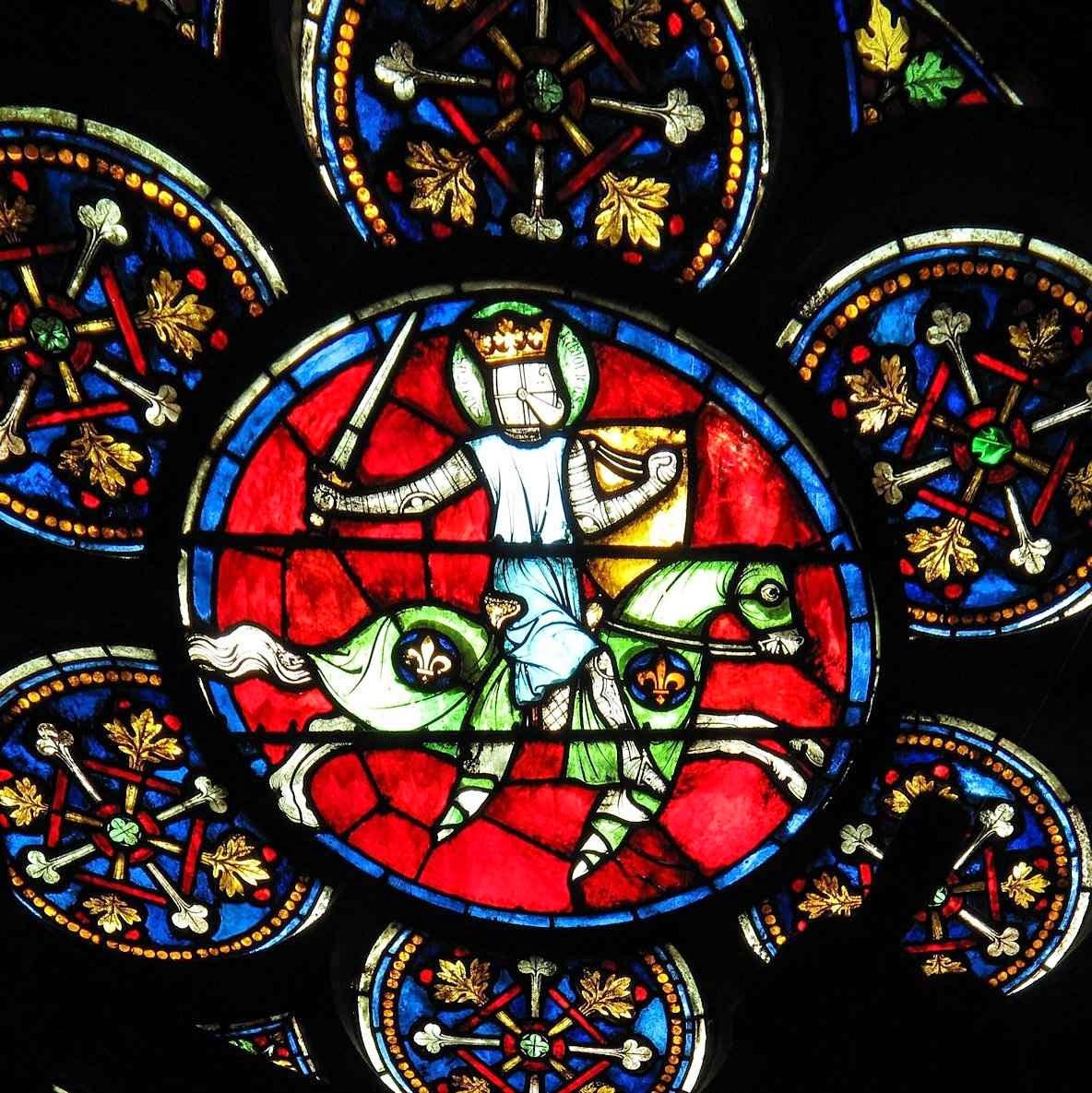 Vitral de la catedral Notre Dame de París  representando a San Luis rey